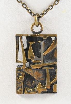Jorma Laine Finnish Abstract Modernist Sculptural Bronze Pendant