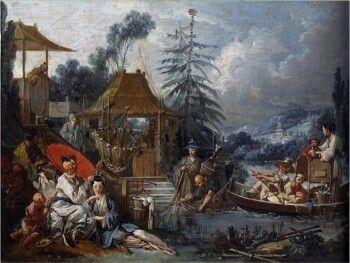 François Boucher,Chinese Fishing, 1742, oil on canvas (Musée des Beaux-Arts et d'Archéologie, Besançon, France)