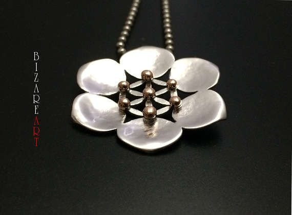 Lotus / seed of life Pendant Sterling Silver 9.25