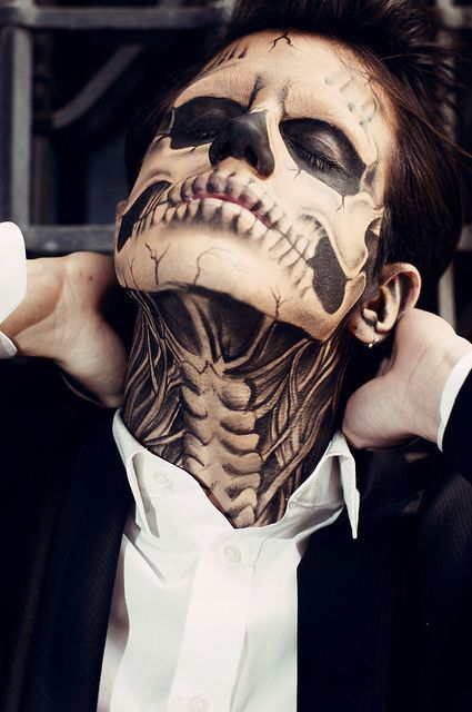 mens skull make up - Halloween Skull Face Paint Ideas
