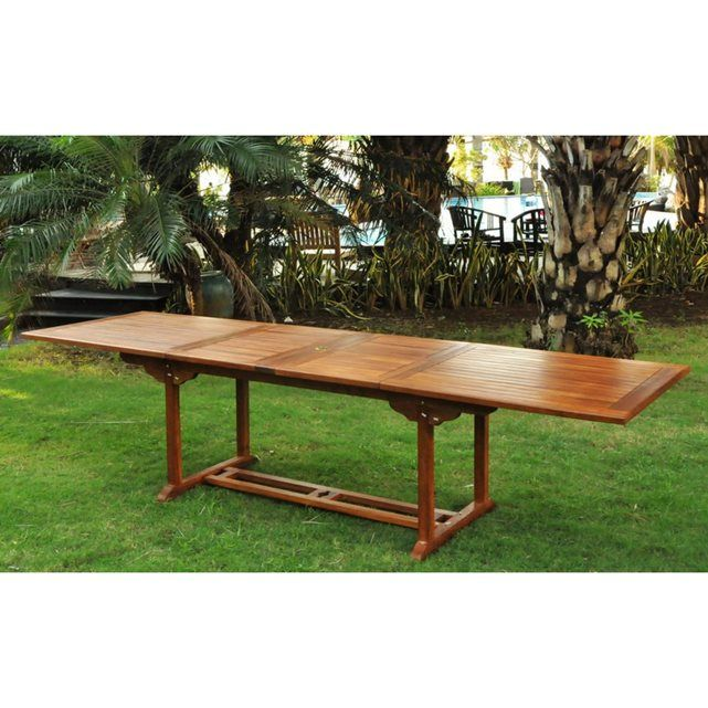 Lubok - Salon de jardin Teck huilé 12/14 pers - Table rectangle   10 chaises