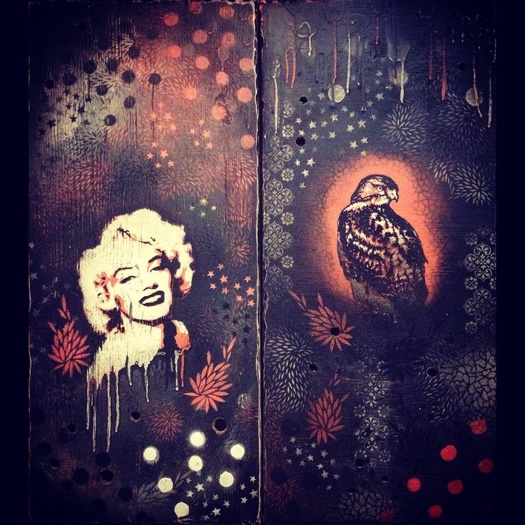 """Marilyn"" and ""Strength to Overcome"" Spray paint on wood panels"