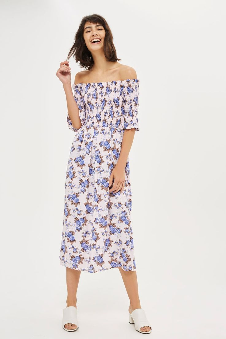 Shirred Floral Bardot Dress - New In Fashion - New In - Topshop USA
