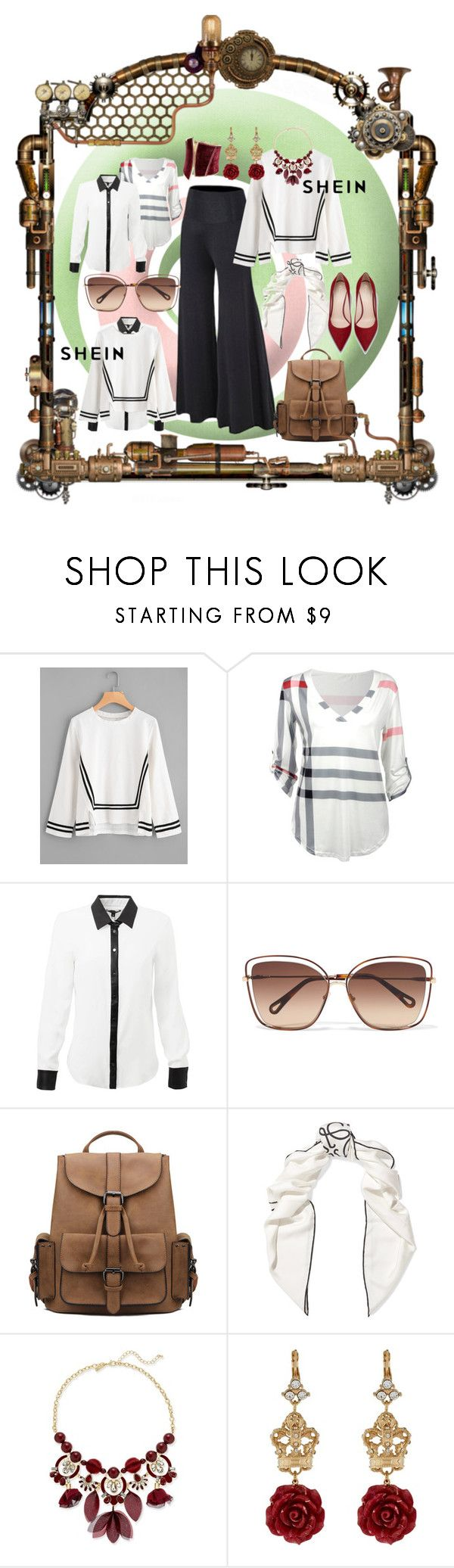 """dark red pop"" by caroline-buster-brown ❤ liked on Polyvore featuring Chloé, Loewe, INC International Concepts, Dolce&Gabbana and GUESS by Marciano"