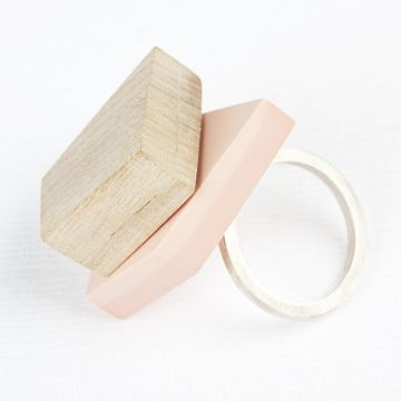 Cherry Wood, Resin and Silver Ring