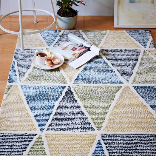 Dotted Triangles Wool Rug - Blue Lagoon   West Elm