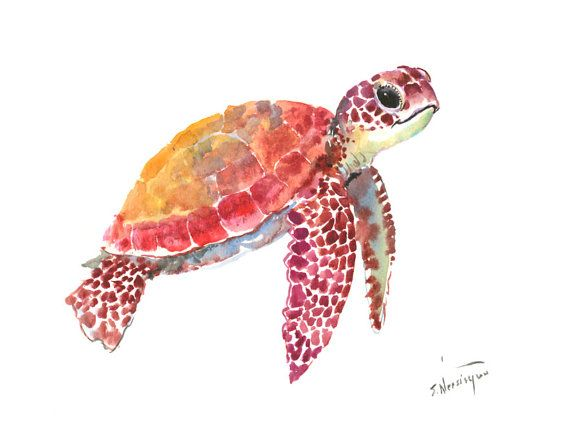 "Sea Turtle, One of a kind original watercolor painting 12"" X 9"" baby sea turtle sea turtle art, children wall design illustration"