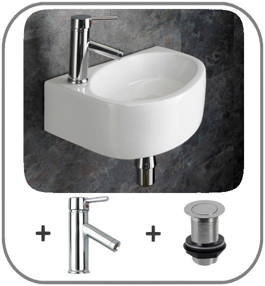 Left Hand Wall Hung 42cm x 29cm Balsamo Basin with Single Lever Tap and Pop Up
