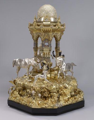 mark of R & S Garrard - The Alhambra table fountain Edmund Cotterill (1795-1860) (modeller) Edward Lorenzo Percy (designer) William Spencer (active 1852) (modeller)