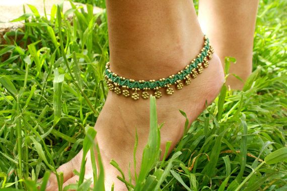 light blue and gold gypsy handmade micro macrame anklet, upper arm jewelry bracelet