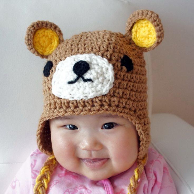Crochet Animal Hats : Relax Bear Hat, Rilakkuma, Crochet Baby Hat, Animal Baby Hat, Brown ...