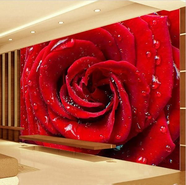 3d Large Red Rose Water Drops Photo Wallpaper Mural Rose Flower Wallpaper Mural Wallpaper Red Flower Wallpaper