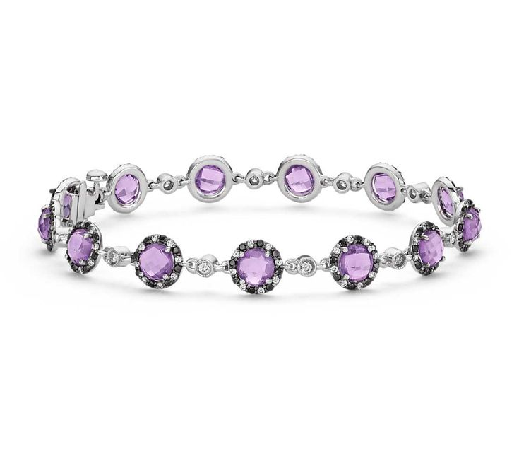 Angara Amethyst Tennis Bracelet in 14k White Gold
