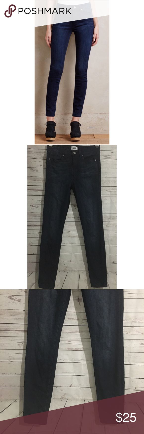 Paige Hoxton Ultra Skinny Jeans Great used condition dark wash jeans with whiskering. Smoke free/pet friendly home. 53% rayon/23% Cotton/22% polyester/1% spandex.   Approximate Flat Measurements   Waist: 14 in Inseam: 29 in Outseam: 38 in Leg opening: 5 in Rise: 10 in Hips: 13 1/2 in PAIGE Jeans Skinny