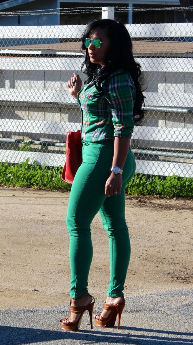 Wearing - plaid green shirt, green colored denim jeans, YSL sandals, Celine bag, Ray Bay Green Mirrored Shades