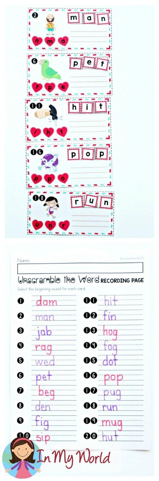 FREE Valentine's Day Literacy Centers for Kindergarten. Unscramble the CVC word.
