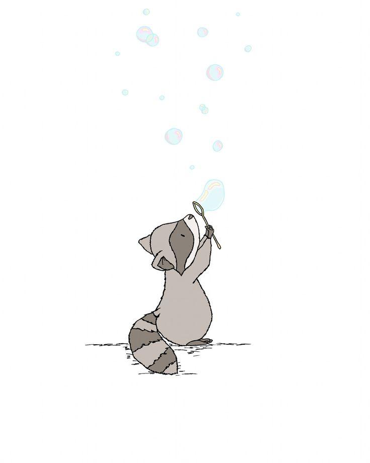 Woodland Nursery Art — Raccoon Bubbles — Bubbles Nursery Art — Raccoon Nursery Art Print — Children Art — Kids Wall Art — Nursery Art