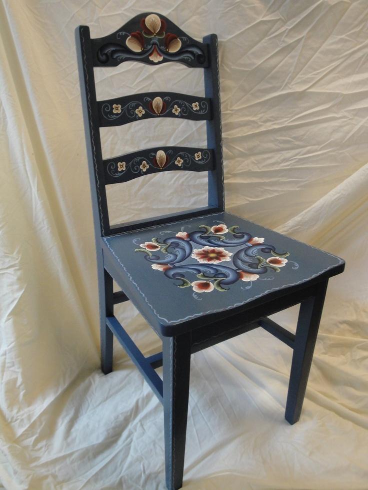 Norwegian Rosemaling: Blue Chair (Rogaland Style)