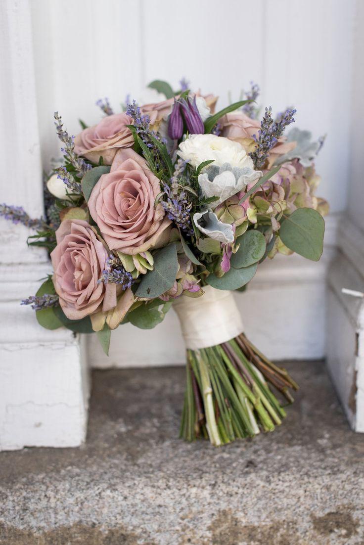 Vintage Inspired Bouquet By: www.justweddingsvt.com/#rosequartz  amnesia Roses, Ranunculus, Lavender, Antique Hydrangeas