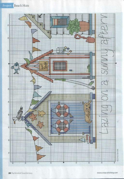 Beach huts part 1 free cross stitch pattern