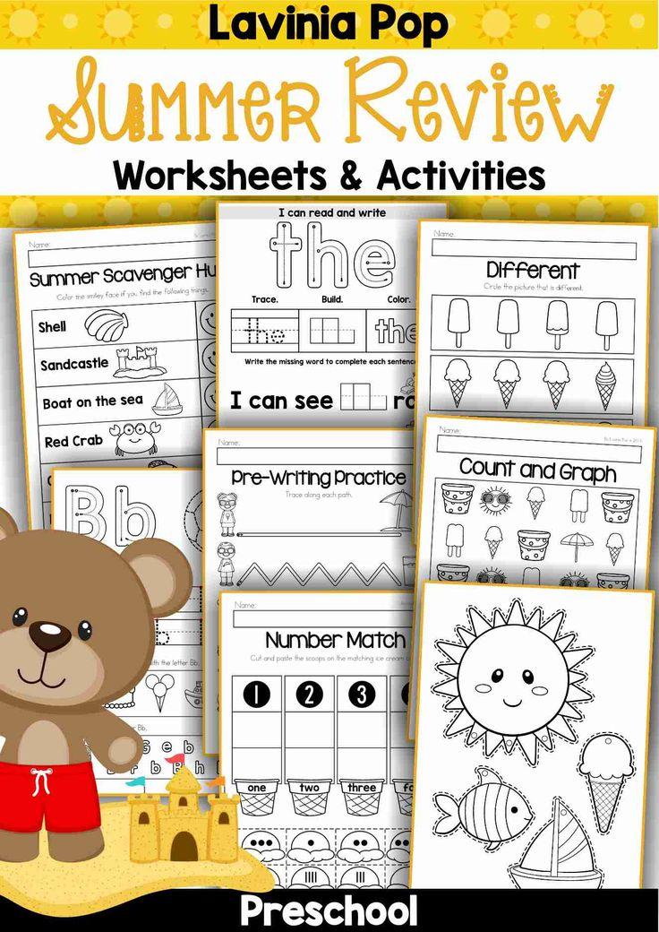 free printable preschool worksheets summer review preschool worksheets ...