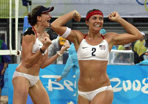 Kerri Walsh, left, and Misty May-Treanor celebrating their gold medal victory in beach volleyball at the Beijing Games in 2008. May-Treanor is a two-time Olympic gold medalist. The pair is teaming up again in pursuit of what they hope will be their third gold medal at the 2012 Summer Olympics in London.