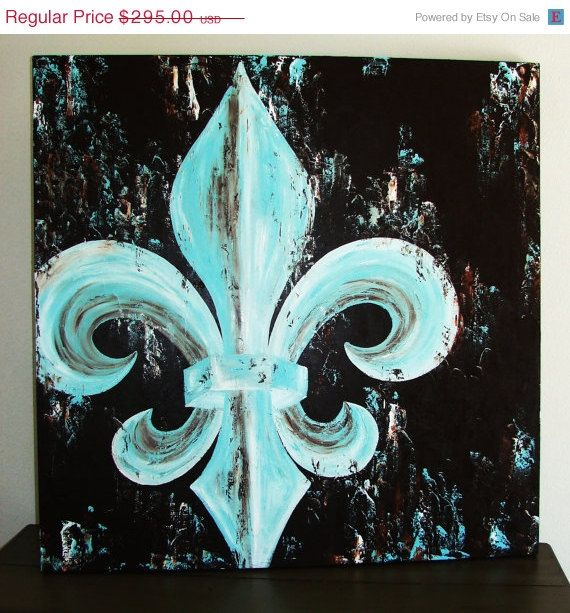 Fleur de Lis original painting on canvas 42x42