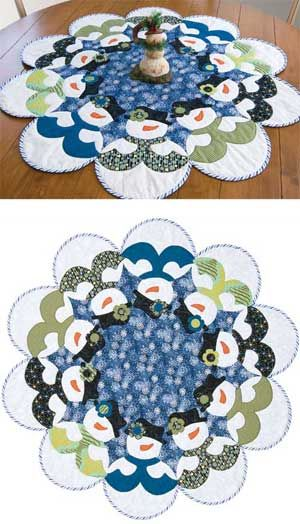 """Table-topper or tree skirt-you decide. Applique the snowmen as you machine quilt these 40""""-diameter quilts. Pattern has Jenice Belling's fusible-applique directions."""