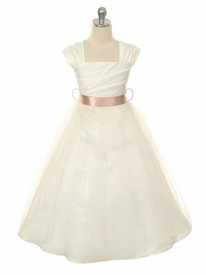 Ivory Gathered Bodice Flower Girl Dress With Tulle Skirt