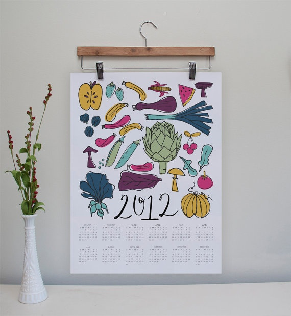 Lots of fun stuff in this shop, including this perfect-for-the-kitchen 2012 Yearataglance Calendar // 25 OFF by yoursistheearthshop, $16.50