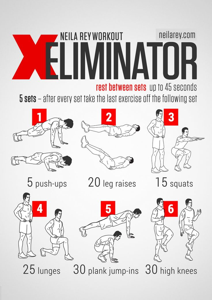 Eliminator Workout / works: Chest, triceps, biceps. Lower abs, quads, calves.