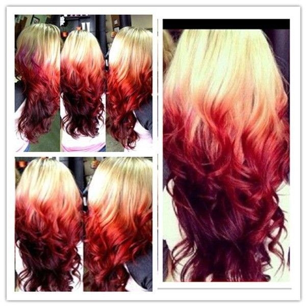 One Step to own your unique red ombre hair color ❤ liked on Polyvore featuring beauty products, haircare, hair color and hair