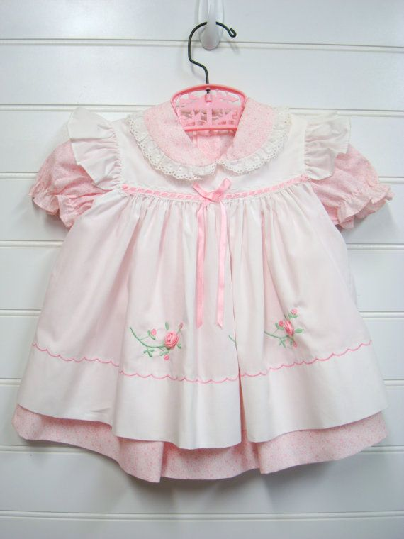 Vintage Baby Clothes Baby Girl Dress Pink and by OnceUponADaizy, $24.00