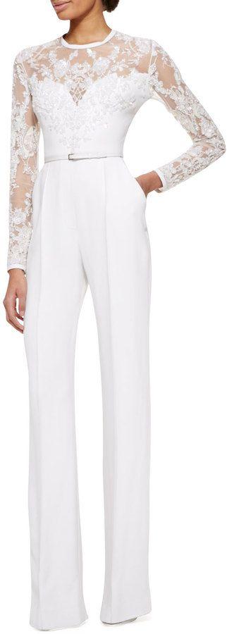 Elie Saab Long-Sleeve Lace-Embellished Jumpsuit, Jasmine White on shopstyle.com