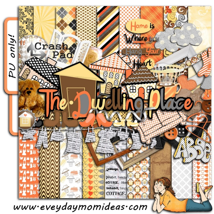 Everyday Mom Ideas: The Dwelling Place - Free Digital Scrapbooking Kit download re-release