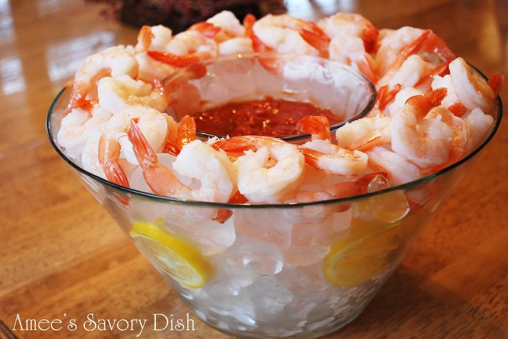An elegant presentation for shrimp cocktail and simple way to keep shrimp cold and fresh at your next party or holiday gathering from Amee's Savory Dish