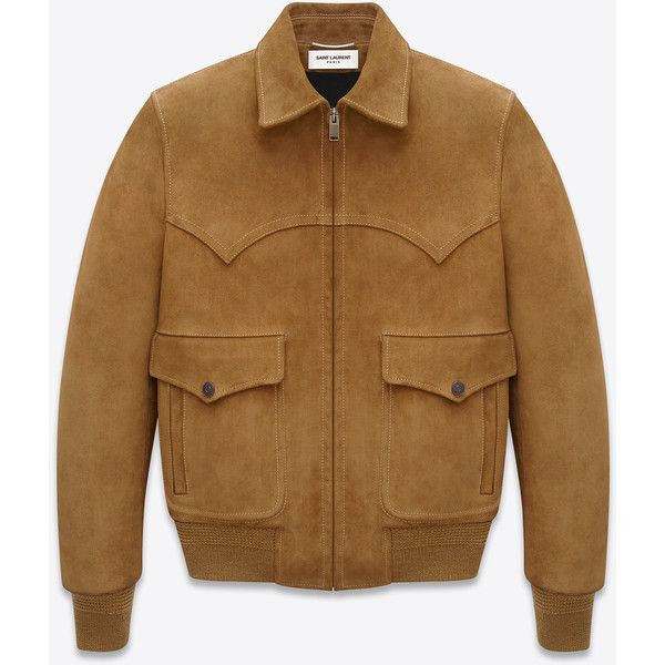 Saint Laurent Western Flight Jacket (12.566.520 COP) ❤ liked on Polyvore featuring men's fashion, men's clothing, men's outerwear, men's jackets and outerwear