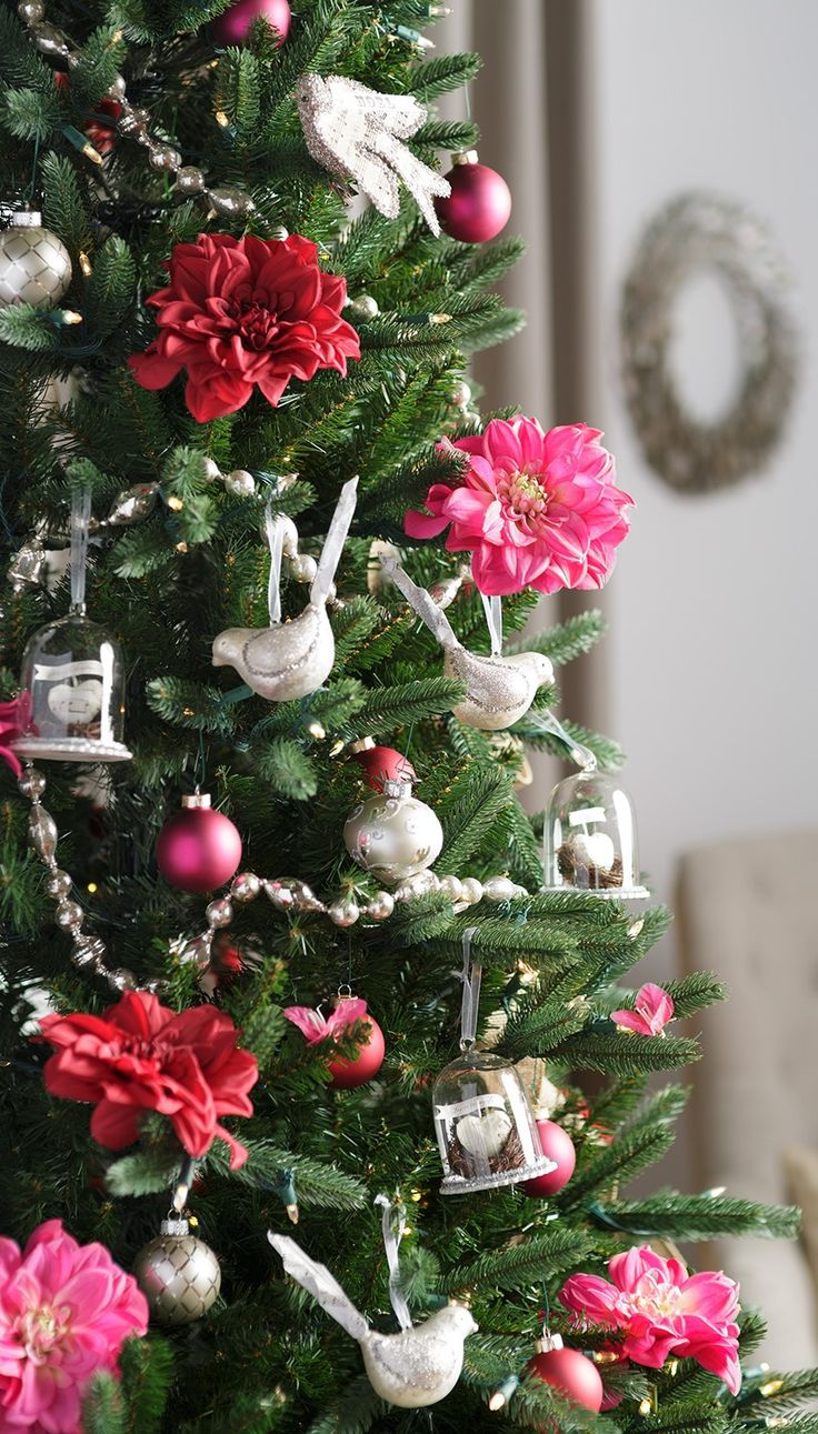 Hot pink christmas decorations - Add A New Pop Of Color To Your Christmas Tree This Year We Added Red