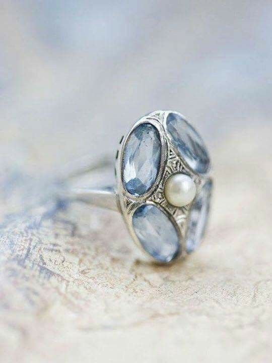 Edwardian aquamarine and seed pearl ring in white gold