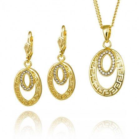 Wyjątkowy komplet pozłacanej biżuterii składający się z owalnych kształtów wysadzanych błyszczącymi kryształkami.  #MarcoDiamanti #komplet #biżuteria #złoto