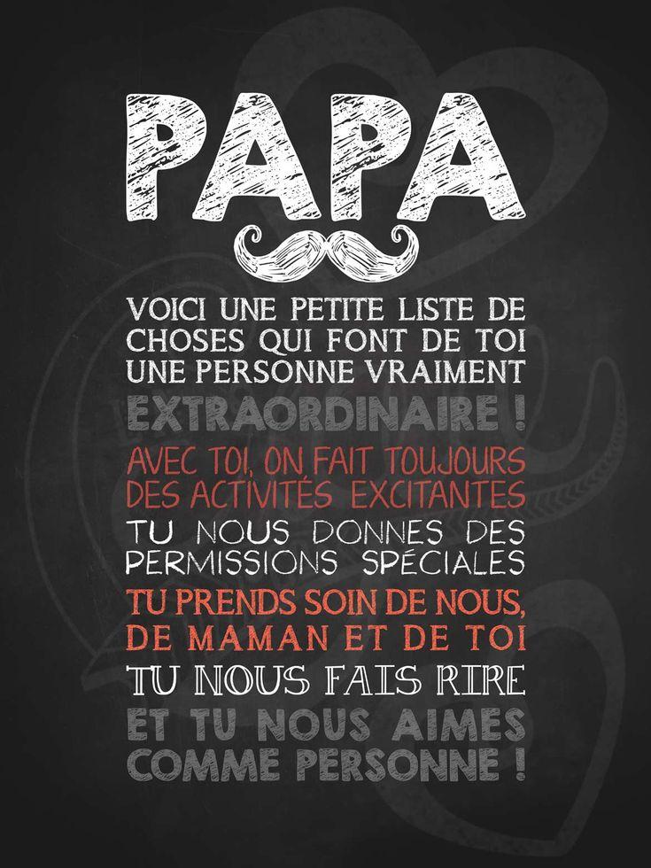 Affiche personnalisée pour la fête des pères Papa moustachu extraordinaire! | 15,00$ #lacraieco #chalkboard #fetedesperes