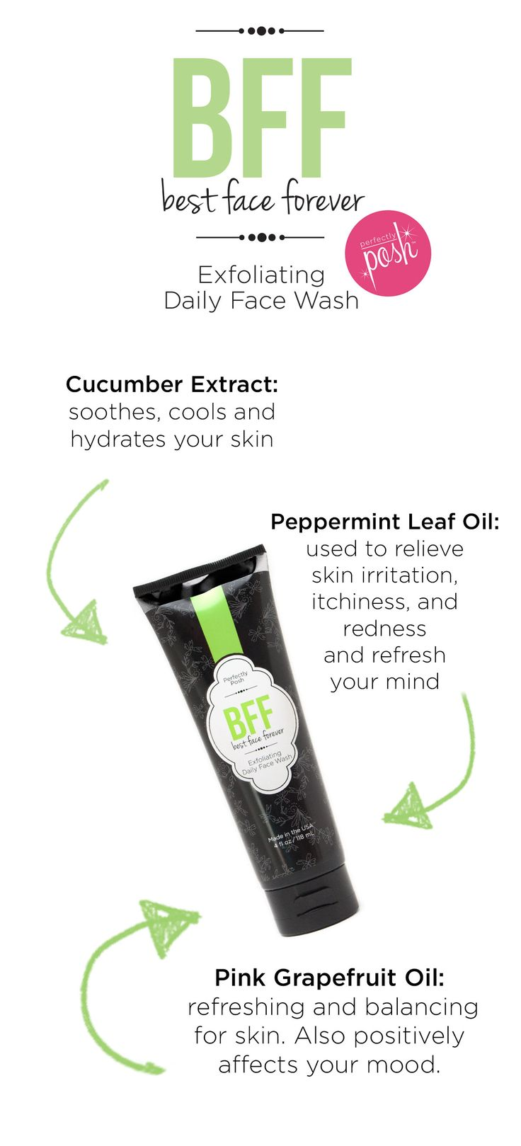 Best Face Forever!  Amazing ingredients: Cucumber, Aloe, Grapefruit and Peppermint Essential Oil.  Exfoliates, cleanses, and lifts your mood as you cleanse.  Made in the U.S.A.