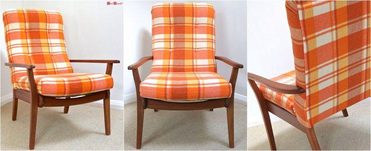 Retro wool blanket armchair