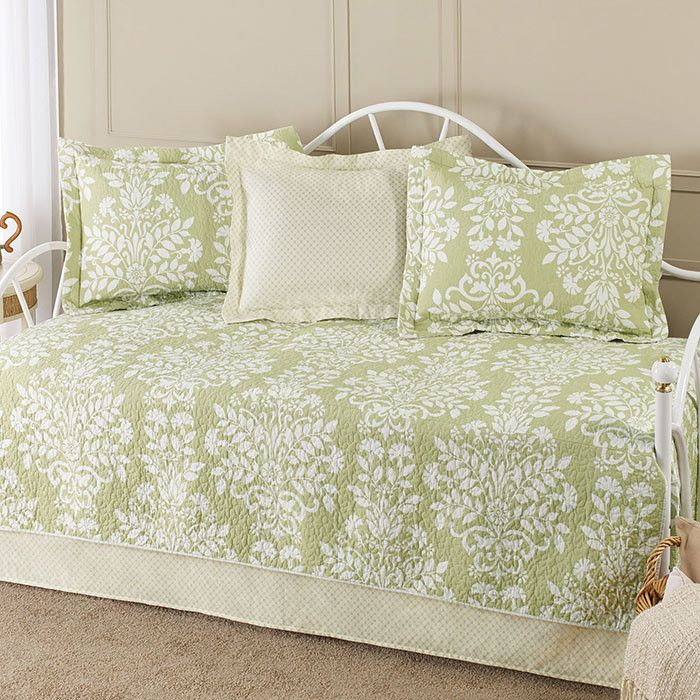 5-Piece Rowland Daybed Cotton Quilt Set in Sage by Laura Ashley