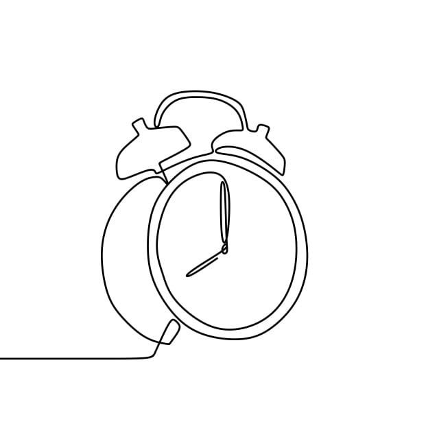 One Line Drawing Of A Alarm Clock Vector Illustration Timer Clipart Linear Line Png And Vector With Transparent Background For Free Download Minimalist Icons Clock Drawings Single Line Drawing