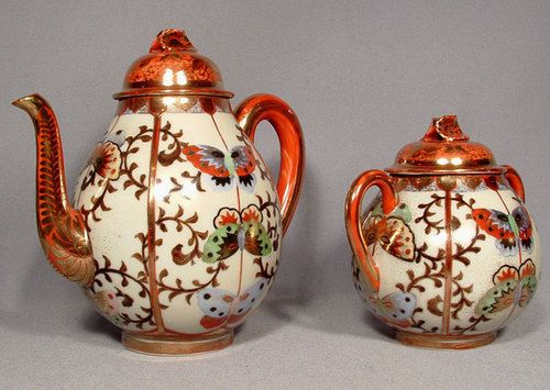 Antique Japanese Kutani Porcelain Teapot and Sugar Bowl 19th c