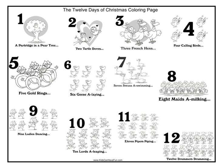 Twelve Days Of Christmas Coloring Pages Partridge Drummer Boy Gold Ring