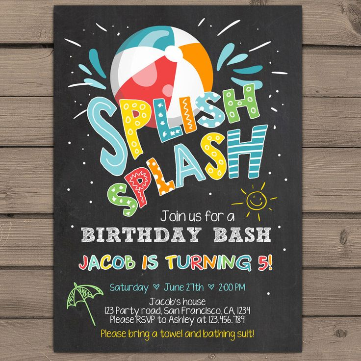 Splish Splash Birthday Invitation Pool Party Pool Birthday bash Beach Ball Beach birthday bash Boy birthday Blue Digital PRINTABLE ANY AGE by Anietillustration on Etsy https://www.etsy.com/listing/462134397/splish-splash-birthday-invitation-pool