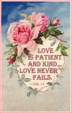 1 Corinthians 13:4Love is patient and kind. Love is not jealous. It does not brag, does not get puffed up, 5does not behave indecently, does not look for its own interests, does not become provoked. It does not keep account of the injury. 6It does not rejoice over unrighteousness, but rejoices with the truth. 7It bears all things, believes all things, hopes all things, endures all things. 8Love never fails