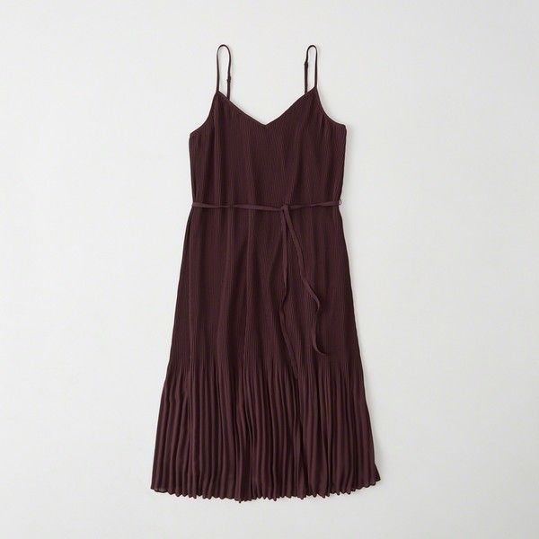 Abercrombie & Fitch Chiffon Pleated Midi Dress ($78) ❤ liked on Polyvore featuring dresses, burgundy, burgundy dress, burgundy v neck dress, pleated midi dress, v-neck dresses and burgundy midi dress